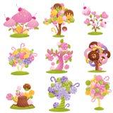 Ustaleni bajecznie drzewa i krzaki z czekoladami, cukierkami i donuts na gałąź, Wektorowa ilustracja na bielu ilustracji
