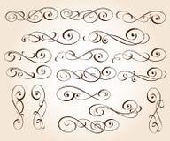 Ustaleni eleganccy dekoracyjni ślimacznica elementy wektor również zwrócić corel ilustracji wektora brąz ilustracja wektor