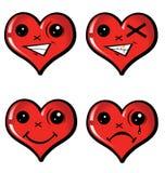 Ustaleni emocjonalni serca Obraz Stock