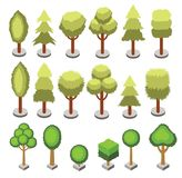 Ustaleni isometric 3d kształta różnorodni drzewa odizolowywający Wektorowe isometric drzewne ikony dla isometric map, gra projekt Zdjęcia Stock
