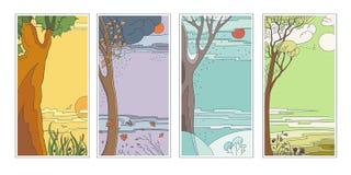 Ustaleni jaskrawi płascy wektorowi naturalni tła cztery pory roku Gorący letni dzień, dżdżystej jesieni spada liście, mroźny śnie ilustracji