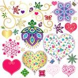 Ustaleni kolorowi projektów elementy z sercami ilustracja wektor