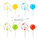 Ustaleni Kolorowi Strzelający balony Odizolowywający Obrazy Royalty Free