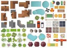 Ustaleni Krajobrazowi elementy, odgórny widok Dom, ogród, drzewo, jezioro, pływaccy baseny, ławka, stół Kształtujący teren symbol