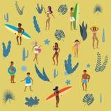Ustaleni ludzie chodzi przy plażą, seashore lub - sunbathing, royalty ilustracja