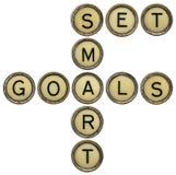 Ustaleni mądrze cele w maszyna do pisania kluczach Zdjęcie Stock