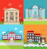 Ustaleni Miejscy budynki urząd miasta, szpital, szkoła i komenda policji -, royalty ilustracja