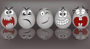 Ustaleni pocieszni jajka ilustracja wektor