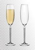 Ustaleni przejrzyści wektorowi szampańscy szkła opróżniają, z iskrzastym winem Wektorowa ilustracja w photorealistic stylu obraz stock
