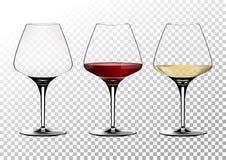 Ustaleni przejrzyści wektorowi win szkła opróżniają, z bielem i czerwonym winem Wektorowa ilustracja w photorealistic stylu fotografia stock