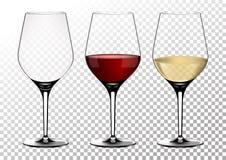 Ustaleni przejrzyści wektorowi win szkła opróżniają, z bielem i czerwonym winem Wektorowa ilustracja w photorealistic stylu obraz stock