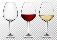 Ustaleni przejrzyści wektorowi win szkła opróżniają, z bielem i czerwonym winem Wektorowa ilustracja w photorealistic stylu fotografia royalty free