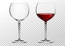 Ustaleni przejrzyści wektorowi wina bordo szkła opróżniają, z czerwonym winem Wektorowa ilustracja w photorealistic stylu zdjęcie stock