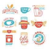 Ustaleni retro roczników logowie dla sklep z kawą, herbata bar Logo z sokiem, smoothies royalty ilustracja