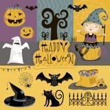 Ustaleni tradycyjni elementy Halloween ilustracja wektor