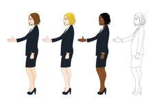 Ustalona Śliczna Biznesowa kobieta Daje ręce dla uścisku dłoni ciało pełne ilustracja wektor
