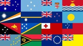 Ustalona flaga Oceania stany Chorągwiany pojęcie Chorągwiany quiz royalty ilustracja