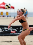 ustalona Johnston plażowa siatkówka Rachel Obraz Stock