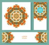 Ustalona karta, ulotka, sztandar z abstrakcjonistycznego ornamentu round mandala Zdjęcia Royalty Free
