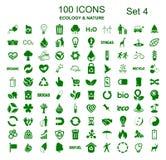 Ustalona liczba cztery 100 ekologii ikon - wektor ilustracji