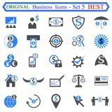 Ustalona liczba pięć Biznesowe ikony Zdjęcia Stock
