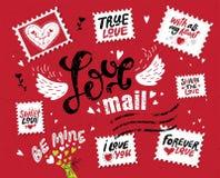 Ustalona miłości poczta, pociągany ręcznie literowanie ilustracji