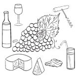 Ustalona nakreślenie gałąź winogrona Zdjęcie Royalty Free