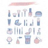 Ustalona ręka rysujący kolor ikon kosmetyki Obraz Stock