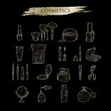 Ustalona ręka rysujący złociści ikona kosmetyki Obrazy Royalty Free