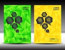 Ustalona zieleni i koloru żółtego pokrywa projektuje szablon wektorową ilustrację p Fotografia Stock
