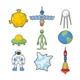 Ustalone Astronautyczne ikony Statku kosmicznego i rakiety UFO Satelita i ziemia, Zdjęcia Stock
