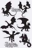 Ustalone czarne wektorowe ilustracje smoki lata sylwetki ilustracja wektor
