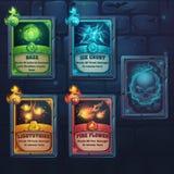Ustalone czary karty natura, lód, ogień, światło royalty ilustracja