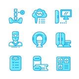Ustalone kolor linii ikony obrazowanie rezonansem magnetycznym Zdjęcia Stock