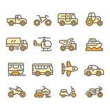 Ustalone kolor linii ikony transport Fotografia Royalty Free