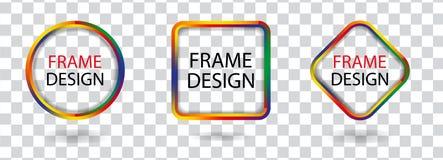 Ustalone kolorowe geometryczne ramy na przejrzystym tle Dekoracyjni nowożytnego projekta elementy wektor Fotografia Stock