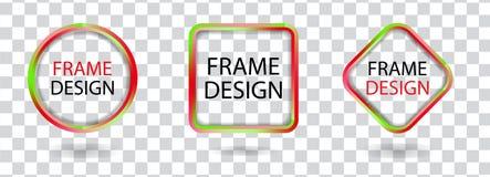 Ustalone kolorowe geometryczne ramy na przejrzystym tle Dekoracyjni nowożytnego projekta elementy wektor Zdjęcia Royalty Free