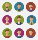 Ustalone kolorowe męskie twarze okrążają ikony, modny mieszkanie styl Zdjęcie Royalty Free