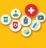 Ustalone kolorowe medyczne ikony dla twój projekta Obraz Stock
