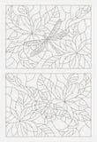 Ustalone konturowe ilustracje witraż Windows z kwiatami i insektami Zdjęcie Royalty Free