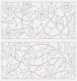 Ustalone konturowe ilustracje witraż z abstrakcjonistycznymi kwiatami Fotografia Stock