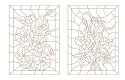 Ustalone konturowe ilustracje witraż z kwiatami Zdjęcie Stock