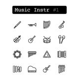 Ustalone kreskowe ikony wektor instrumenty muzykalni Zdjęcia Stock
