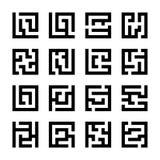 Ustalone lub kwadratowe labirynt ikony ilustracja wektor