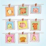 Ustalone obrazek ramy z zwierzętami portrety, ręka rysująca wektorowa ilustracja Obrazy Royalty Free