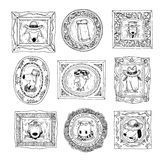 Ustalone obrazek ramy z zwierzętami portrety, ręka rysująca wektorowa ilustracja Fotografia Stock