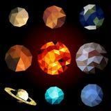 Ustalone poligonalne planety Zdjęcia Royalty Free