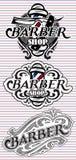 Ustalone retro odznaki z ornamentem dla zakładu fryzjerskiego Zdjęcia Royalty Free