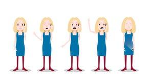 Ustalonego nastoletniego blondynki dziewczyny charakteru różne pozy i emoci błękita sukni rozmowy telefonicza żeński szablon dla  ilustracji