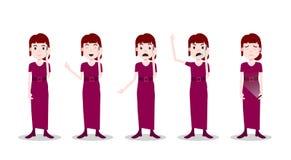 Ustalonego nastoletniego dziewczyna charakteru różne pozy i emoci czerwieni sukni rozmowy telefonicza żeński szablon dla projekt  ilustracji